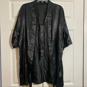 Small black satin robe